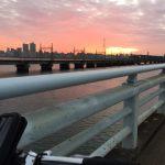 通勤途中の朝焼け