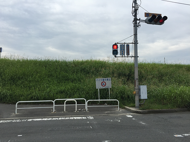 淀川の堤防手前の信号