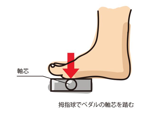 ペダルの軸芯を拇指球で踏む