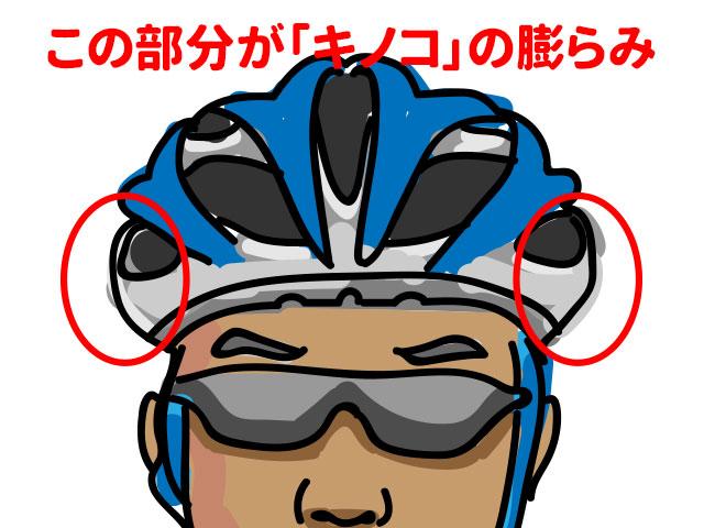 キノコ頭のヘルメット